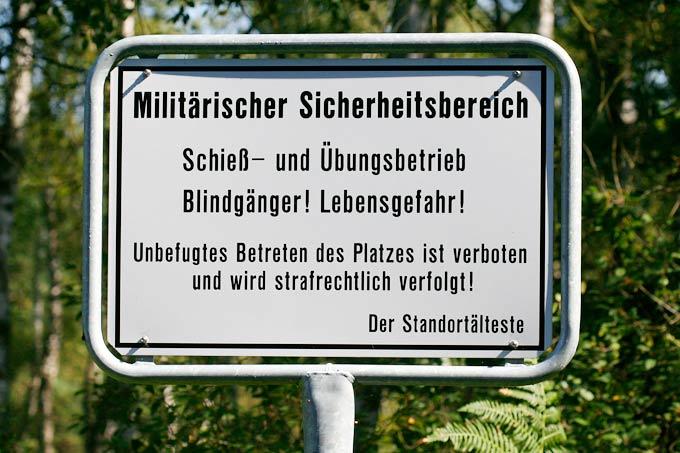 Blechschild Funschild Militärischer Sicherheitsbereich!